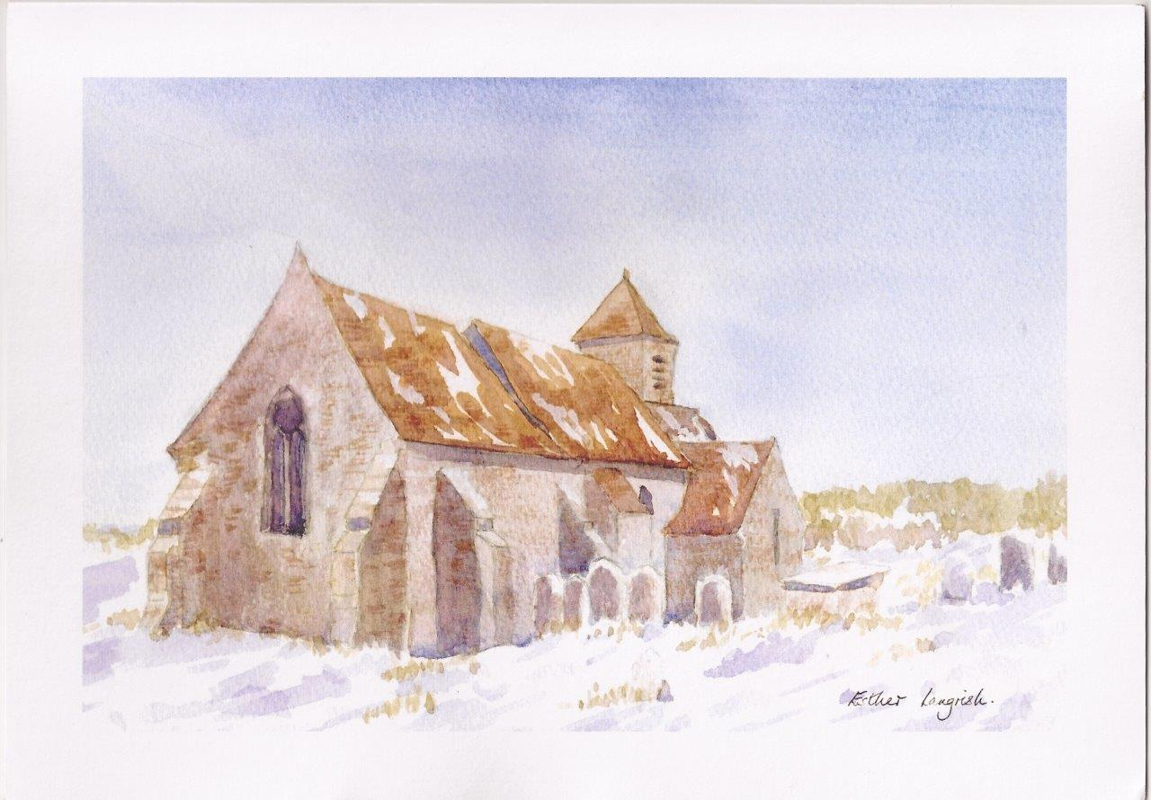 Binsted church in snow by Esther Langrish