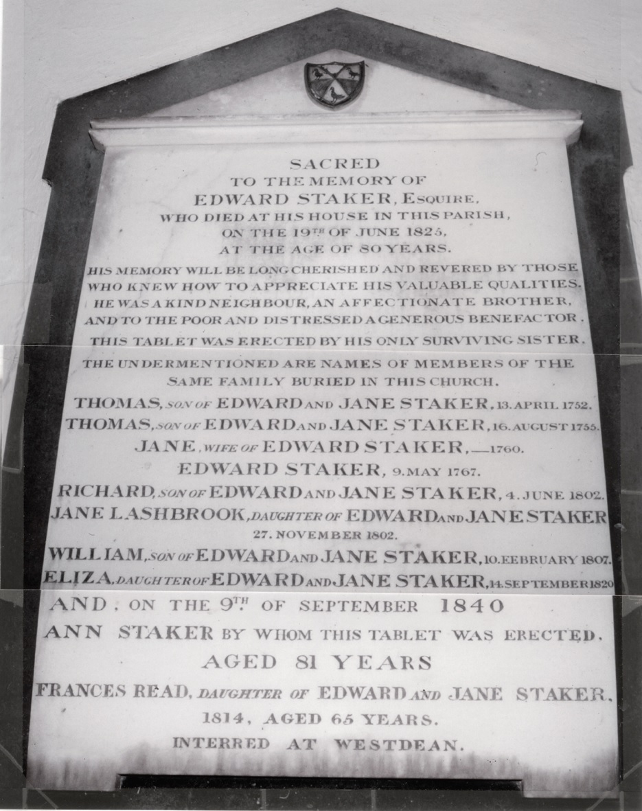 Staker family memorial in Binsted church
