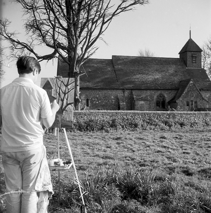 michael wishart painting Binsted Church in 1950s